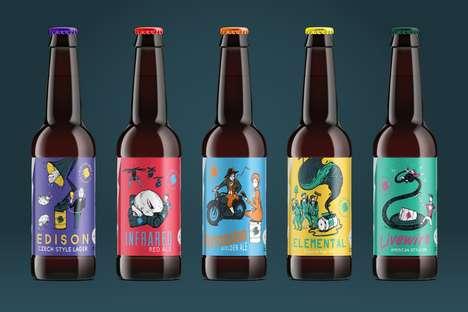 Storytelling Brew Branding - Cartoon Beer Packaging Tells the Whimsical Tales Behind Each Beverage