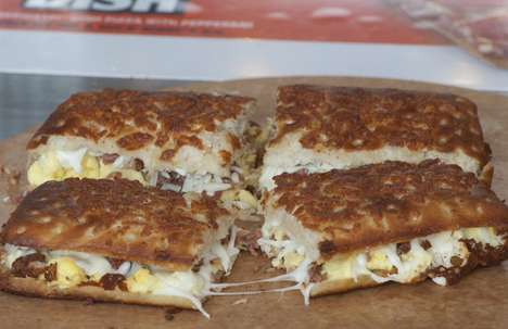 Pizza-Based Breakfast Sandwiches - Little Caesars' New Pizzini Sandwich Turns Pizza into Breakfast