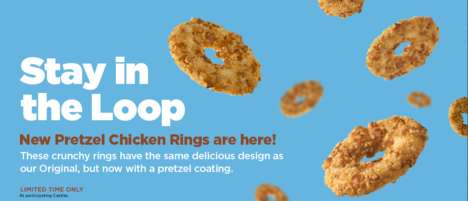 Pretzel-Coated Chicken Tenders - White Castle's Pretzel Chicken Rings Feature a Salty Coating