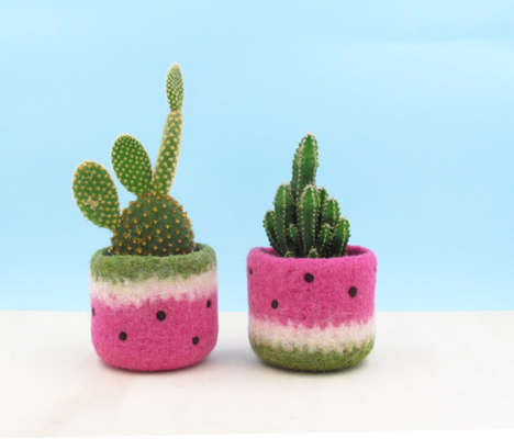 Fruity Felt Planters - This Watermelon Flower Pot is a Quirky Example of Handmade Decor