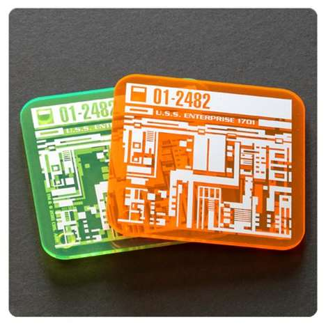 Sci-Fi Microchip Coasters - The Star Trek Isolinear Chip Drink Holders Creatively Glow-in-The-Dark