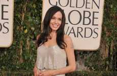 Shimmery Blouson Dresses - Angelina Jolie Rocks Vintage-Inspired Versace at 2009 Golden Globes