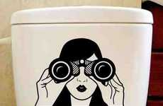 Surveillance-Themed Toilet Decals - This Sticker is Watching You Poop