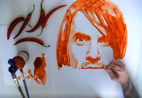 Spicy Sauce Pop Portraits - Nathan Wyburn Draws Anthony Kiedis Fittingly Using Chili Sauce
