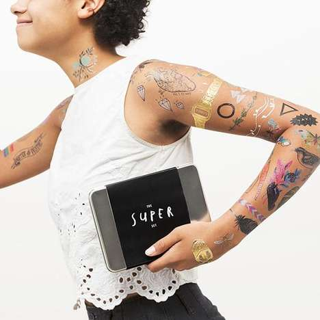 Transportable Tattoo Sets - The Tattly Super Set Offers Contemporary Designs For Adults and Children