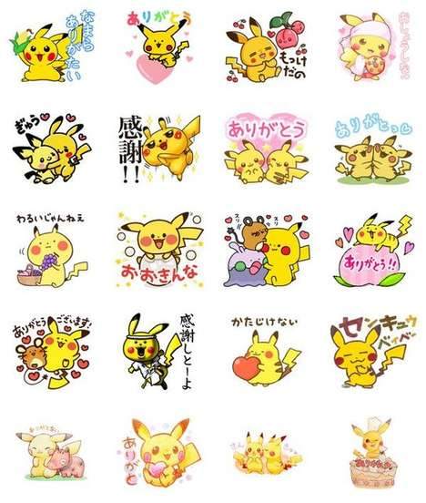 Anime Charity Stickers - 'Line' Released Pokémon-Themed Stickers and All the Proceeds Go to Charity