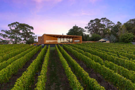 Modern Wooden Home Exteriors - This Modern Home is in the Middle of a Wine Region in Australia