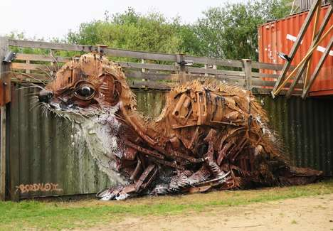 Upcycled Animal Art Installations - Bordalo Il's 'Weasel' is a 3D Sculpture Made From Scrap Metal