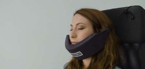Cushioned Chin Supports - This Comfortable Travel Pillow Functions as a Hammock for the Face