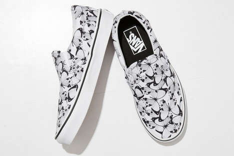 Masculine Insect Sneakers - FACETASM and Vans' Slip-Ons Feature a Black and White Butterfly Design
