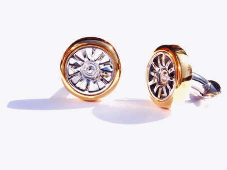 Auto-Inspired Cufflinks - These Luxury Cufflinks are Made from the Front Wheel of a Bugatti Veyron