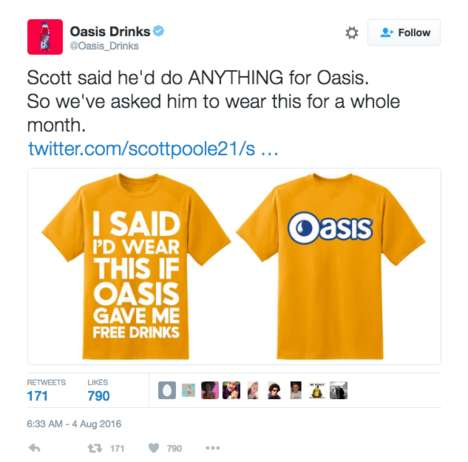 Branded T-Shirt Challenges - Oasis Promises Rewards to a Fan Who Wears a Promotional Tee for a Month