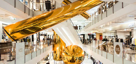 Golden Mall Installations - Hong Kong's K11 Features Inflatable 'Golden Bubbles' Across the Mall