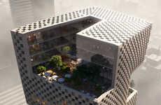 Checkered Concrete Banks - 'Banque Libano Francaise' has a Checkerboard Facade and Built-In Gardens