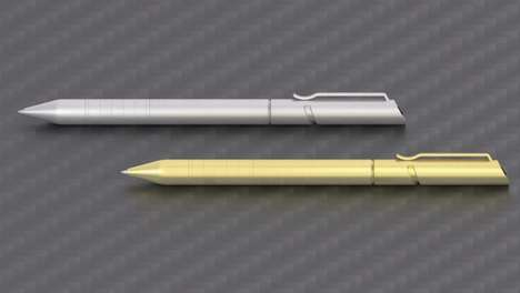 Durable Futuristic Pens - The 'Helic' Stainless Steel Pen is Sleek, Hardy and Comfortable to Hold
