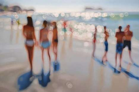 Hazy Beach Paintings - Philip Barlow Captures the Beauty of the Unknown with His Blurry Artwork