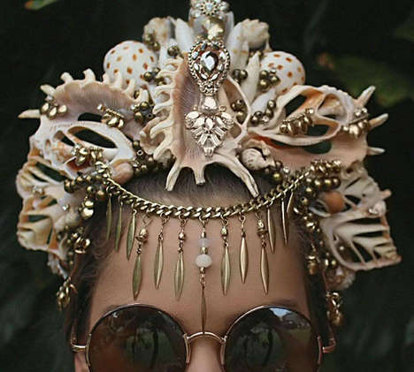 Extravagant Mermaid Crowns - Chelsea Shiels' Accessories are Perfect for Beach Weddings