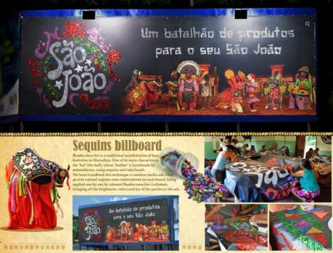 Handmade Sequin Billboards - This Brazilian Billboard Celebrates the Theatrical Bumba-Meu-Boi