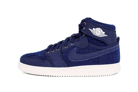 Denim Basketball Sneakers - The Air Jordan 1 KO Was Subject to an Original Blue Jean Makeover