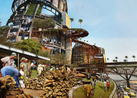 Megastructure Shanty Towns - Designer Olalekan Jeyifous Imagines Poverty-Stricken High-Rise Towers