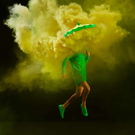Smoke Bomb Photo Series - The 'Bella Umbrella' Series Uses Colorful Smoke and Vintage Umbrellas