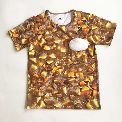 Bizarre Food-Themed Shirts - The 'Psychic Curry T-shirt' is a Realistic Print of Japanese Curry