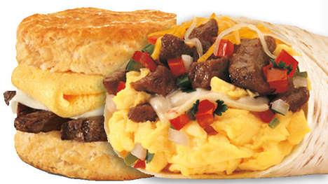 Steak-Stuffed Breakfast Sandwiches - These Meaty Breakfast Sandwiches are a Hearty Meal Option