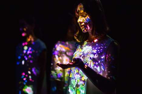 Morphing Flower Installations - teamLab's 'Transcending Boundaries' Projects Flowers on People