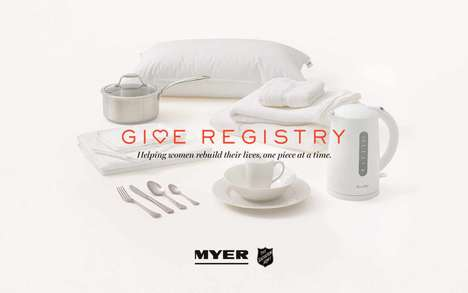 Anti-Abuse Gift Registries - Myer's 'Give Registry' is a Gift Registry with a Social Good Twist