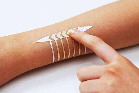 Touchscreen Temporary Tattoos - DuoSkin Tattoos Look Like Gold Leaf and Function as Touchscreens
