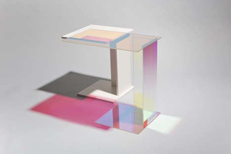 Dichroic Glass Tables - These Abstract Tables by 'kukka' Reflect Color and Light