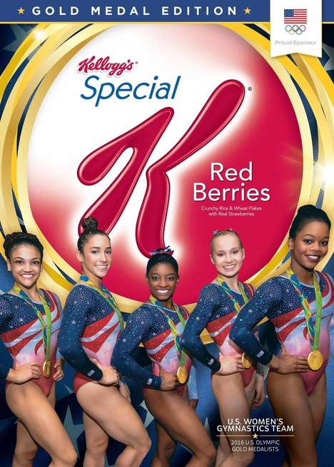 Olympic Cereal Boxes - Kellogg's 'Gold Medal Edition' Special K Cereal Box Stars Olympians