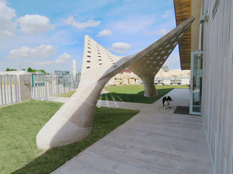 Bending Geometric Installations - The Hypargate is a Hyperbolic Paraboloid Made Entirely of Stone