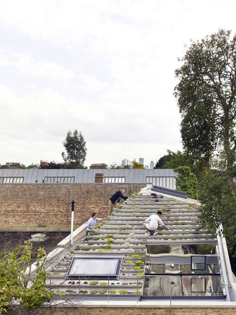 Green Gardening Roofs - The Roof on the 'Garden House' is Made of Tiers of Gardening Rows