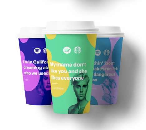 Lyrically Branded Take-Out Cups - Jack Lalley Creatively Adapted the Iconic Starbucks Coffee Cups