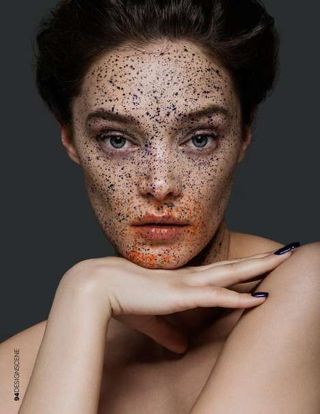 Dotted Makeup Portraits - Design SCENE Magazine's 'Color Forms' Editorial Features Faux Freckles