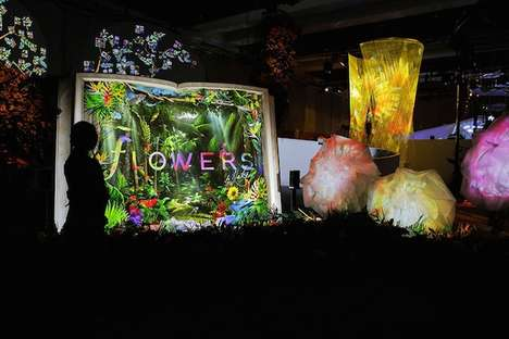 Projection-Mapped Flower Installations - Flowers by Naked: Paradiso Puts Digital Flowers on Display