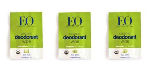 Portable Deodorant Wipes - The EO Certified Organic Deodorant Towelettes Provide on-the-Go Cleansing