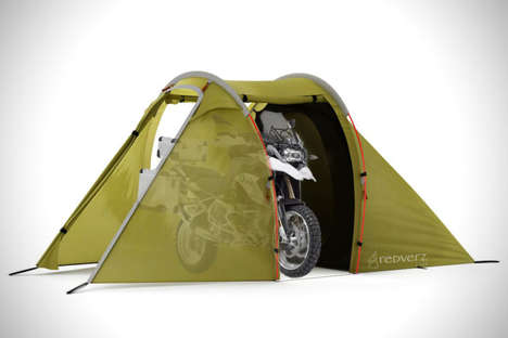Motorcycle-Incorporating Tents - The Redverz Solo Expedition Tent Provides Space to House a Bike