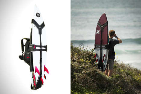 Ergonomic Surfboard Knapsacks - The Koraloc Surf Backpack Makes It Easy to Bring Board to the Beach