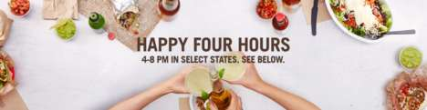 Burrito Chain Happy Hours - Chipotle's 'Happy Four Hours' Promotion Caters to the Happy Hour Crowd