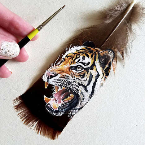 Feather-Painted Artwork - This Intricate Art Was Painted onto Birds' Feathers