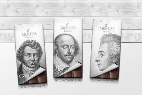 Quirky Historical Chocolates - Merdas' Confectionery Chocolate Wrappers Feature Wordly Icons