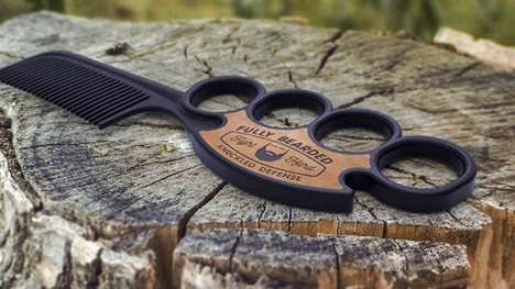 Brass Knuckle Combs - This Men's Beard Brush by Fully Bearded Grips Onto the Consumer's Fingers