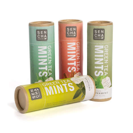 Eco Mint Tube Packaging - Sen Cha's Organic Mints are Presented in Recycled Paper Containers