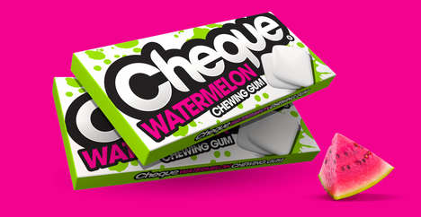 Chromatic Chewing Gum Packaging - Cheque Gum's Rebranding Features Bold Text and Highlighter Hues