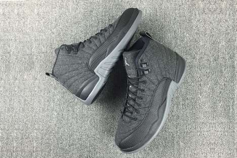 Woolen High-Top Sneakers - The Air Jordan Wool Model Boasts an All-Gray Theme