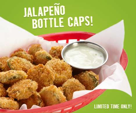 Shareable Mexican Appetizers - These Jalapeno Bottle Caps Served as a Spicy Snack Option