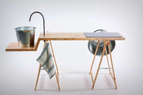 Skeletal Kitchen Islands - This Wooden Kitchen Island is Extremely Minimalist in Its Design