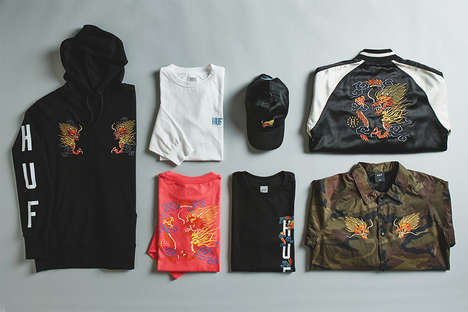 Chinese Dragon Design Menswear - The HUF and PacSun Capsule Collection Utilizes Vibrant Embroidery